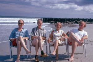 My uncle Wilson, Grandad, Granettes and My father, at Pawleys Island 1972